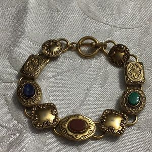Victorian  Toggle Bracelet Goldtone +Stones